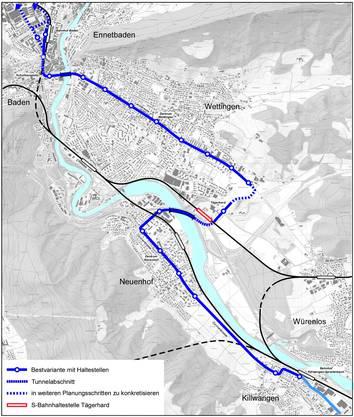 Der Richtplan sieht die Weiterführung der Limmattalbahn bis nach Baden vor