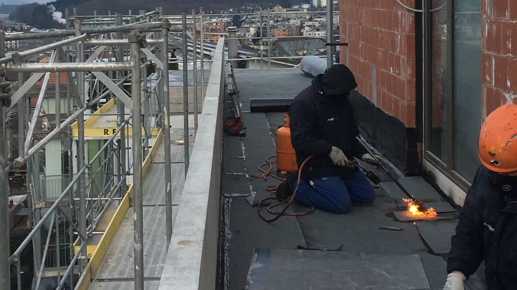 Bauarbeiter bei Kälte