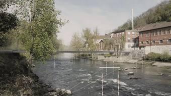 So soll der Mättelisteg über die Limmat aussehen, der den Badener Mättelipark mit dem Oederlin-Areal (rechts) verbindet.
