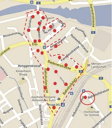 Drahtlose Internet-Abdeckung im Zentrum von Brugg würde gemäss Konzept etwa 25 Access-Points umfassen.