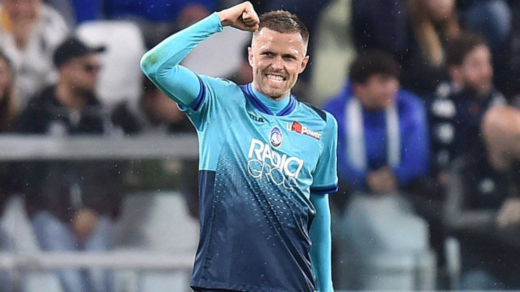 Atalanta Bergamos Josip Ilicic jubelt nach seinem Führungstor gegen Juventus Turin