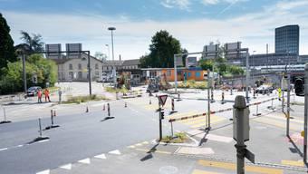 Der Kreuzplatz in Aarau wird saniert.