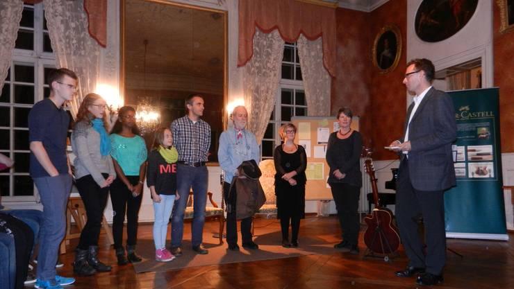 Die im Schloss Blumenstein anwesenden Preisträger mit Initiator Ulrich Marbot