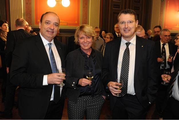 Markus Dieth mit Christiane Guyer und Thomas Burgherr.