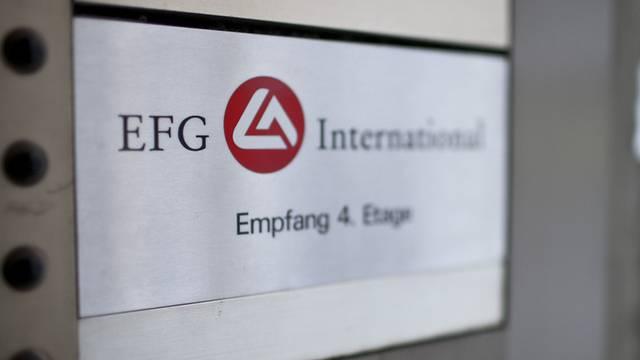 Das Empfangsschild der Schweizer Privatbank EFG (Archiv)