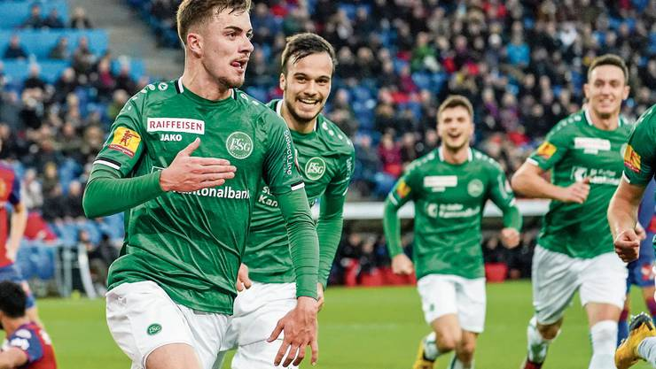 Im Kollektiv stark: St.Gallens junge Spieler Betim Fazliji, Jérémy Guillemenot, Leonidas Stergiou und Silvan Hefti (von links).