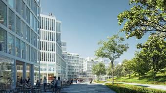 """So soll der Park des """"Circle"""" des Universitätsspitals dereinst aussehen."""