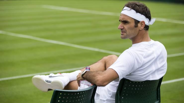 Roger Federer trainierte bereits am Mittwoch in Wimbledon.