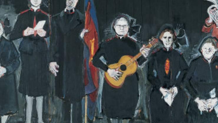 """Varlins berühmtes Bild """"Die Heilsarmee"""" (1963/64), welches Friedrich Dürrenmatt dem Kunsthaus Zürich vermacht hat, ist eines der Exponate der Varlin-Ausstellung im Museum Franz Gertsch in Burgdorf. (Ausschnitt, zVg)"""