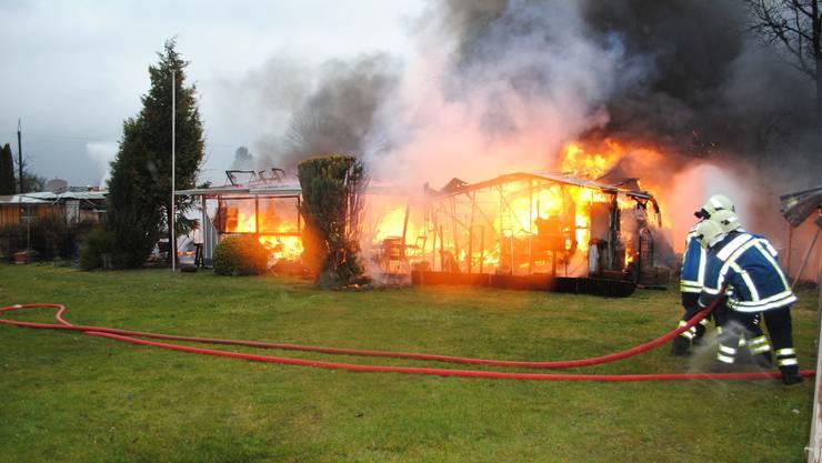 Am 28.März 2018 fingen in Staad (Grenchen) Wohnwagen an zu brennen.
