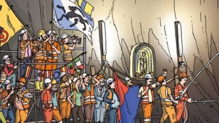"""Ästhetik eines Wimmelbuchs, Präzision eines Sachbuchs: Ein Bildausschnitt aus """"Durch den Gotthard - Bau und Betrieb des Gotthard-Basistunnel"""" zeigt den Durchstich vom 15. Oktober 2010. (Pressebild)"""