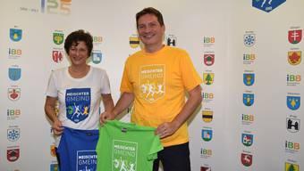 Margot Keist, Leiterin Marketing und Kommunikation, und Eugen Pfiffner, CEO der IBB Energie AG, freuen sich auf einen fröhlichen Wettkampf. mhu