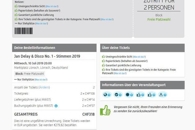 Bei Viagogo kosten die zwei Tickets für das Konzert von Jan Delay stolze 318 Franken.