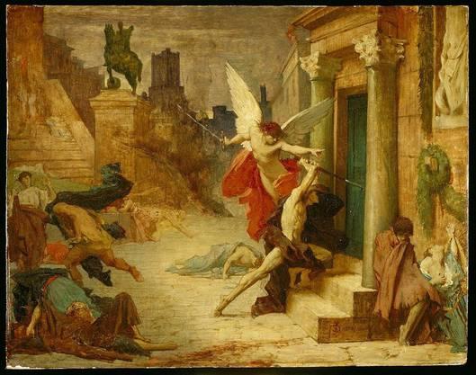 Der Todesengel klopft an eine Tür: «Die Pest in Rom», Gemälde von Jules-Elie Delaunay, 1869.