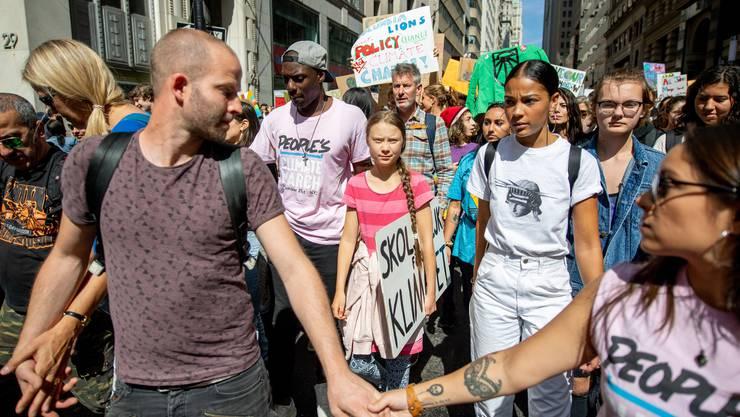 Greta Thunberg an einer Demo am 20. September in New York.
