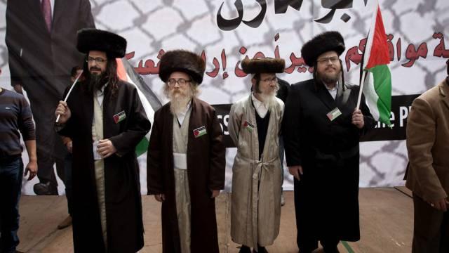 Anti-zionistische ultra-orthodoxe Juden demonstrieren für Abbas