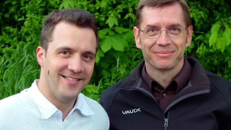 •Links der scheidende Protokollführer Andreas Müller (Zeihen)  •Rechts der neue – Patrick Michel aus Frick