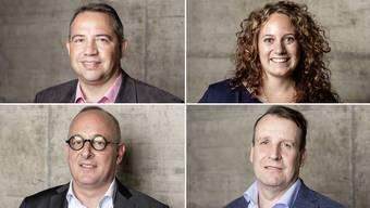 Sie kandieren für den letzten freien Sitz im Gemeinderat von Zurzach (von links oben nach rechts unten): Daniel Imthurn (SVP), Sheela Süess (parteilos), Cyrill Tait (parteilos) und Christian Trottmann (EDU).