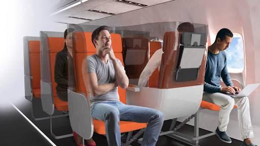 Plexiglas-Scheiben und neue Sitzorientierung für eine bessere Hygiene an Bord? So stellt sich die italienische Firma Aviointeriors die Zukunft der Flugkabine vor.