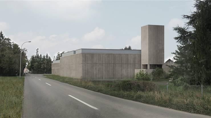 So präsentiert sich der geplante neue Meisterschwander Werkhof, wenn man von Süden ins Dorf fährt.