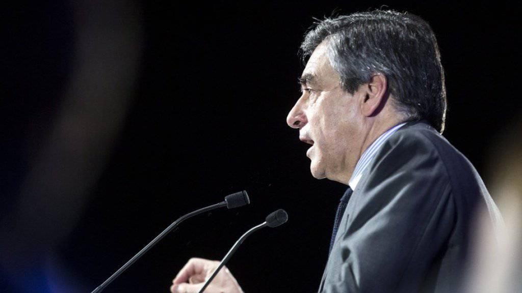François Fillon bei einer Wahlkampfrede am Dienstag in Courbevoie bei Paris.