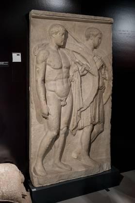 Das Grabmal zweier Krieger: heroischer Tod auf dem Schlachtfeld, Grabstele von der Insel Salamis (Griech) um 420/410 v. Chr.