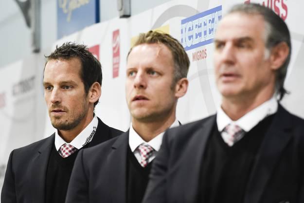 Das Trainer-Trio Patrick Fischer, Reto von Arx und Felix Hollenstein