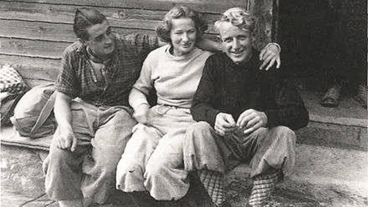 Hans Haidegger, Mäusi Lüthi und Hermann Steuri (v.l.) nach der Erstbegehung der Kingspitz-Nordostwand am 25. September 1938.