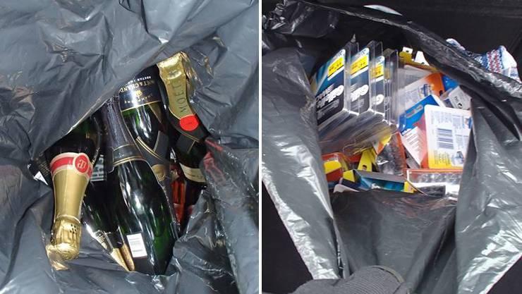 Die gestohlenen Champagnerflaschen und Rasierklingen.