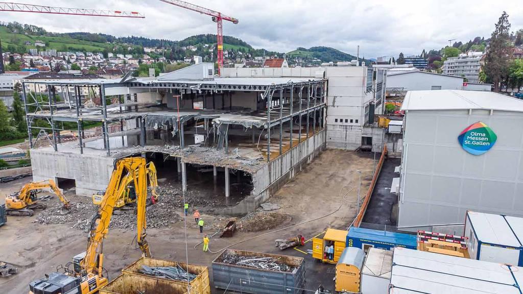 Eindrückliche Bilder: Hier wird die Olma-Halle 1 abgebrochen