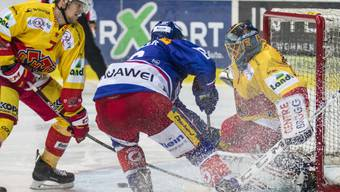 Nicht zu bezwingen: Biel-Goalie Jonas Hiller wehrt sich gegen Klotens Stürmer Morris Trachsler
