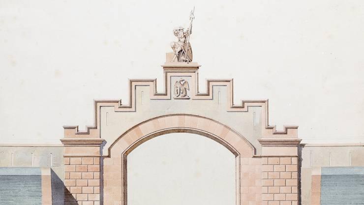 Das Tor in den Plänen von Melchior Berri.