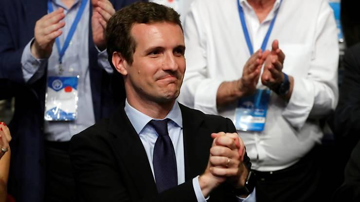 Der strahlende Sieger: Pablo Casado nach seiner Wahl an die Parteispitze der spanischen Konservativen (Partido Popular).