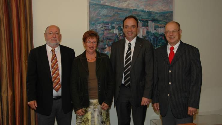 Planungspartner: Die Gemeindeammänner der Querspange  (von links): Hansueli Reber (Würenlos), Cornelia Basica (Killwangen), Markus Dieth (Wettingen) und Walter Benz (Neuenhof). zvg