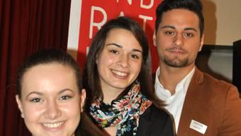 Wohler Jugendrat: Medina Hajdarevic (links, Vize-Präsidentin), Noëmi Ganarin (Präsidentin) und Mergim Gutaj (abtretender Präsident).