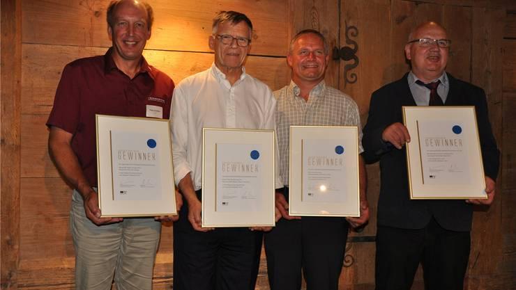 Staatswein-Gewinner Peter Schödler, Peter Wanner, Guido Oeschger, Marcel Biland (von links).