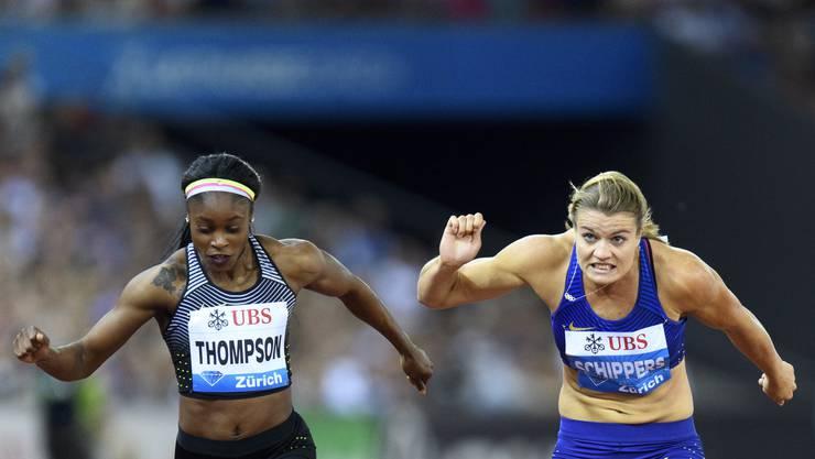 Erbitterter Zweikampf zwischen Elaine Thompson (l.) und Dafne Schippers.