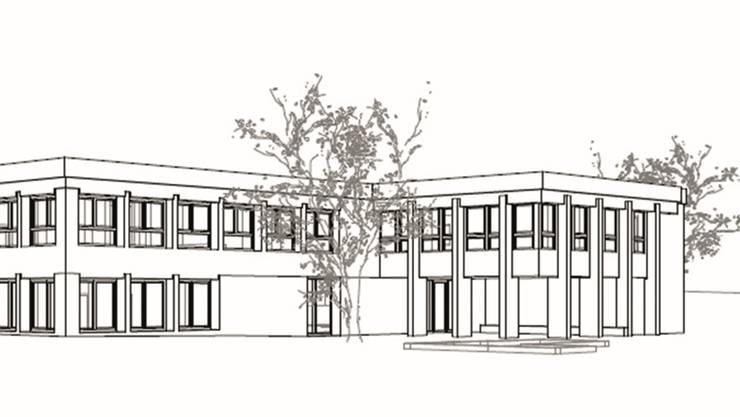 Das Gebäude (r.) wird durch einen länglichen Rechteckbau erweitert. Neu finden darin die Tagesstrukturen und ein zweiter Kindergartenraum Platz.