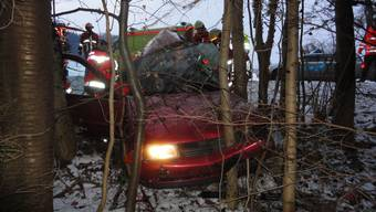 Der VW Polo wurde zwischen Bäumen eingeklemmt.
