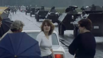 Archivaufnahmen des Schweizer Fernsehens zeigen die AKW-Besetzung.
