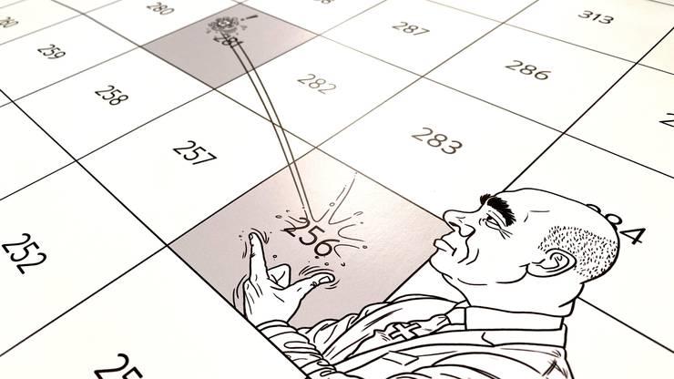 Karikaturist Silvan Wegmann ist für die kreativen «Leiterli» verantwortlich.