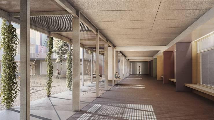 Ein Innenhof mit Arkadengängen soll nach Innen Freiräume schaffen.