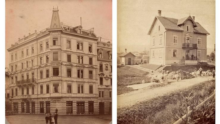 1885: Wohnhäuser am Zähringerplatz in der Altstadt von Zürich (links) und der Altstetterplatz in Altstetten um 1888 (rechts).