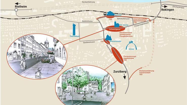 Die Fleckenumfahrung (rechts) bildet die Basis für die Veränderungen im historischen Ortskern. (Visualisierung)