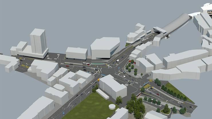 Visualisierung der neuen Kreuzung. Oben die Tunnelausfahrt.