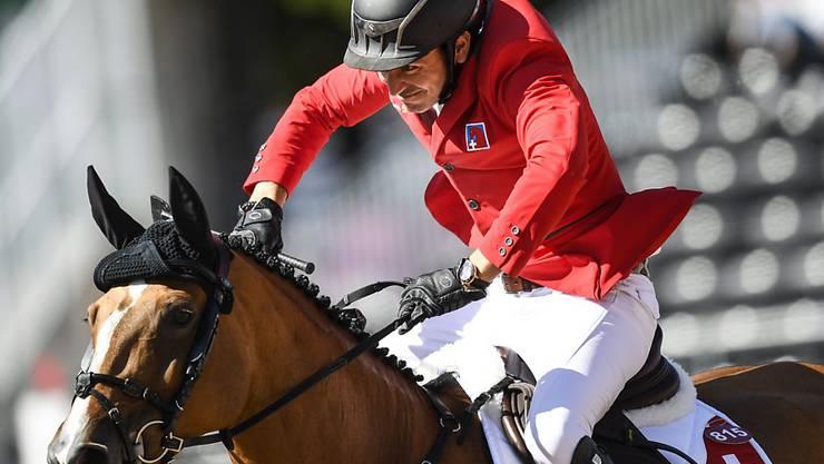 Mit dem Schweizer Team noch immer auf Medaillenkurs: Steve Guerdat auf Bianca