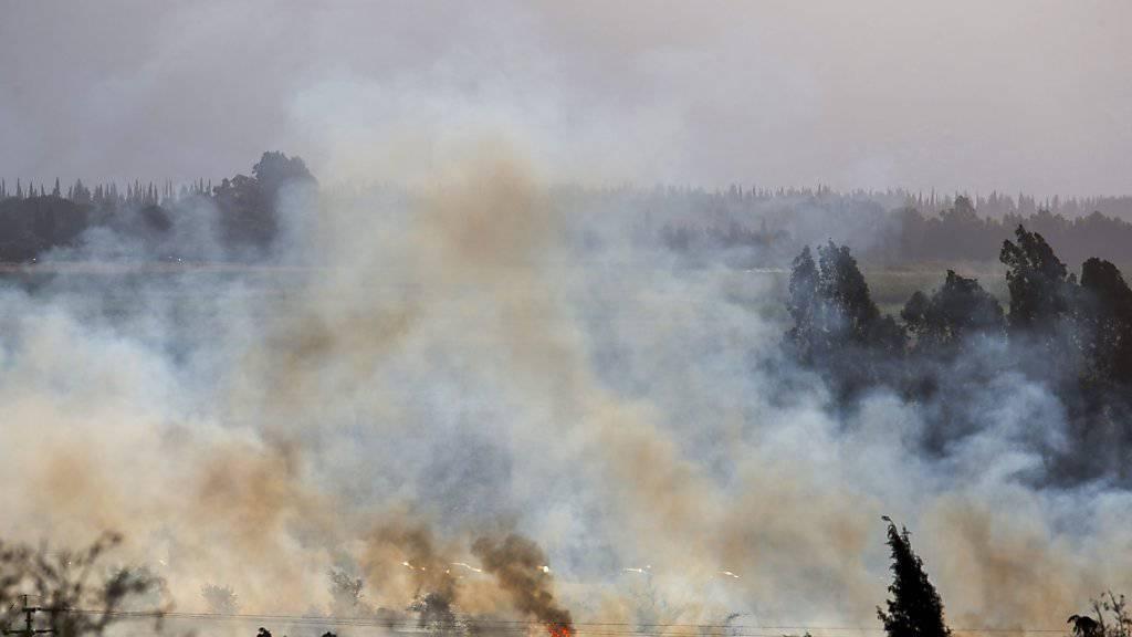 Diesen Beschuss aus Syrien liessen die Israeli nicht unbeantwortet: Die Armee flog daraufhin Luftangriffe auf die Golanhöhlen.