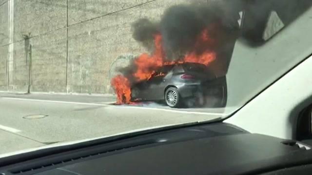 Fahrzeugbrand auf A6