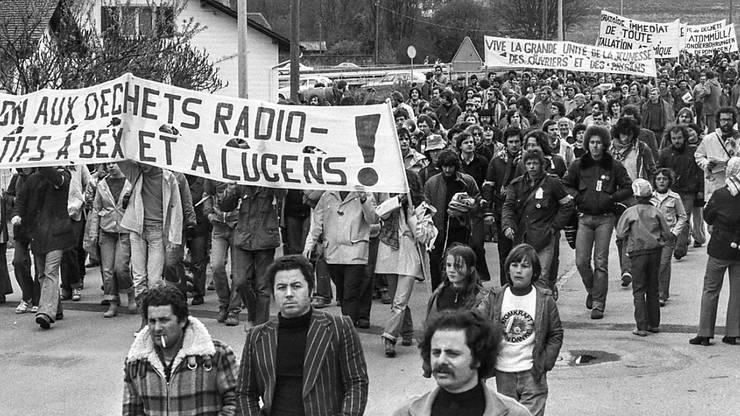 Atomkraftwerkgegner bei der Anti-AKW-Demonstration am Pfingstmontag des Jahres 1978 in Lucens.