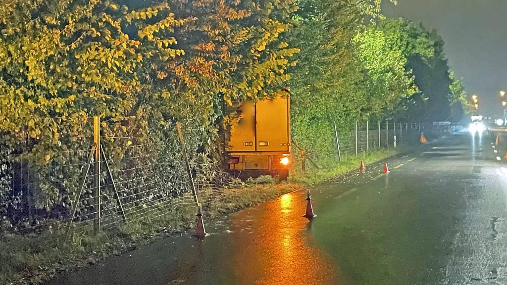 Lieferwagen prallt in Littau gegen Baum